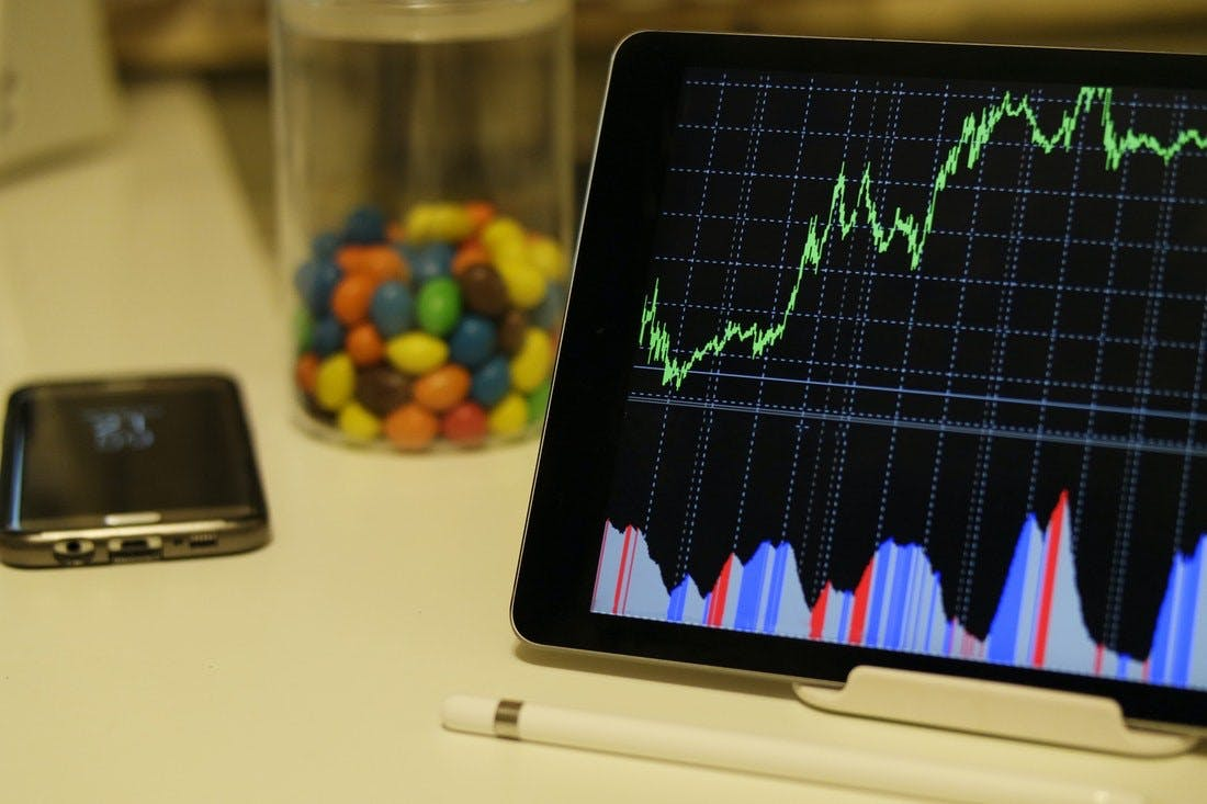 Android tablet displaying stock exchange graph
