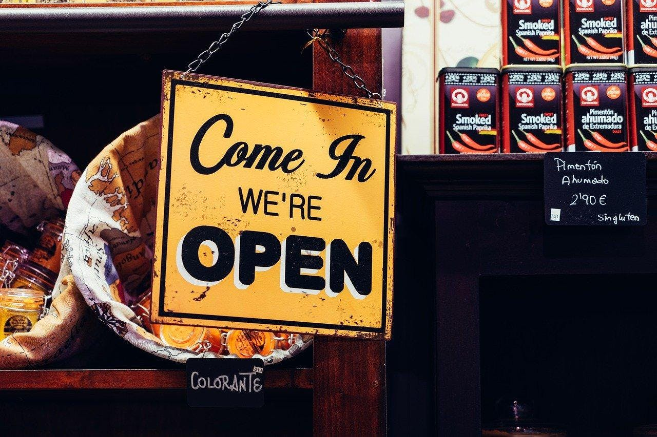 We are open window sign